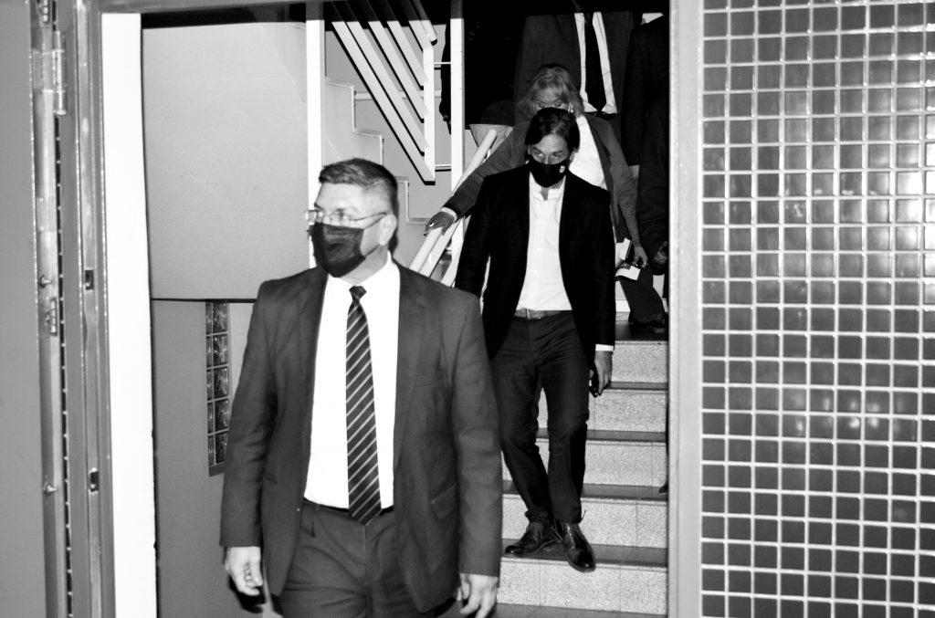 Luis Lacalle Pou al salir de la FIC. Foto: Fabián Correa. 12/08/20