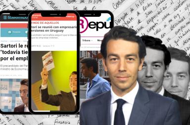 Notas escritas a mano, Juan Sartori y celulares que muestran noticias.